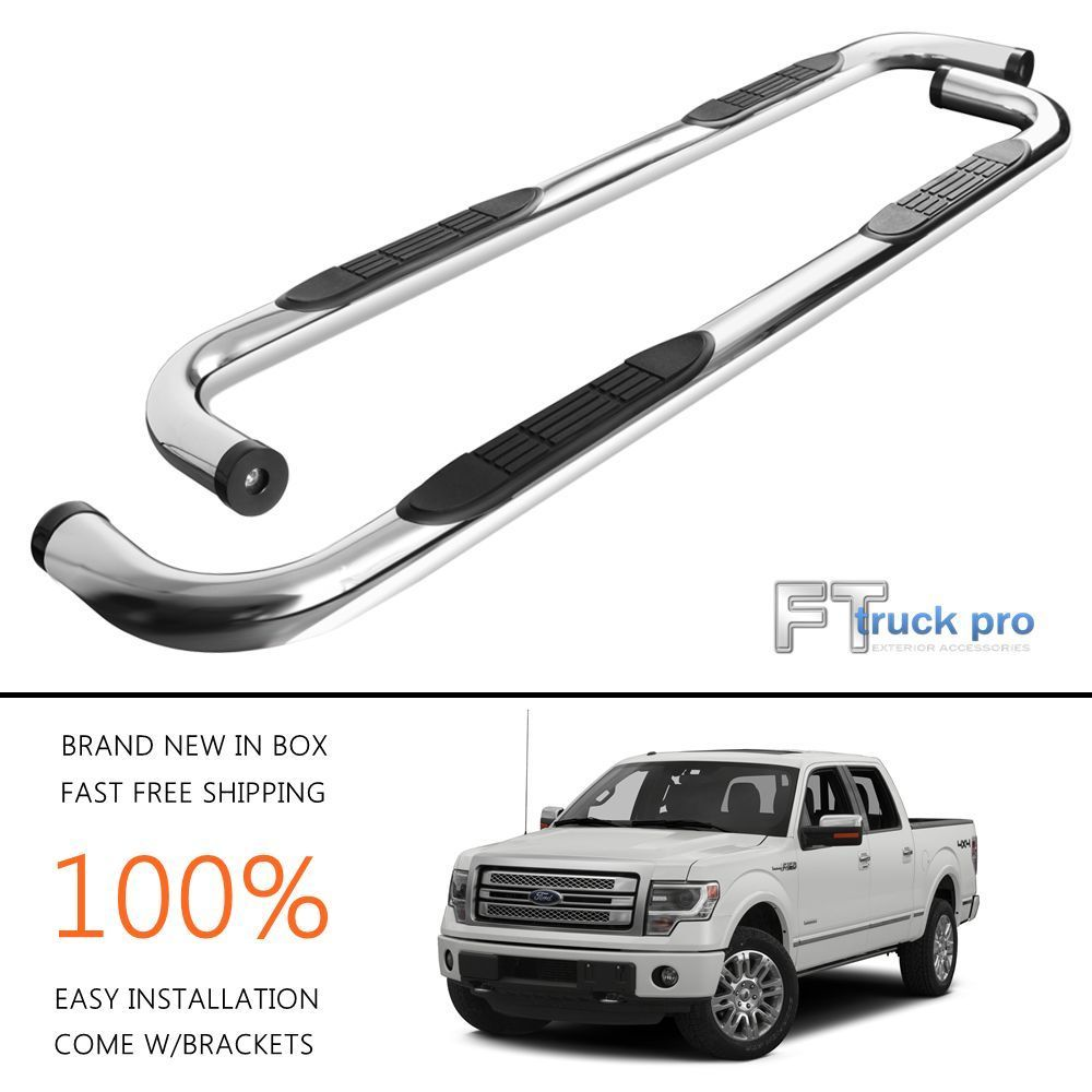 3 nerf bars side steps running boards for 09 14 ford f150 crew cab