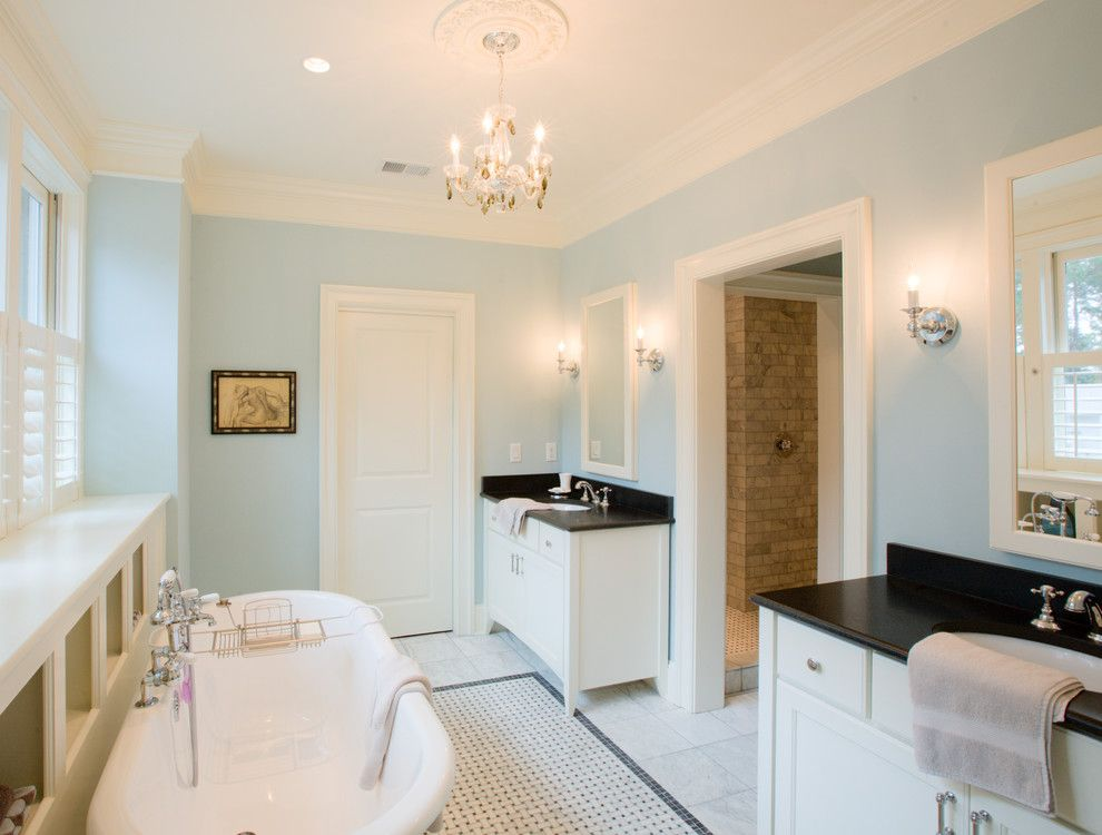 Impressive Bathtub Caddy In Bathroom Traditional With Shaker Style Cabinet  Hardware Next To Basketweave Tile