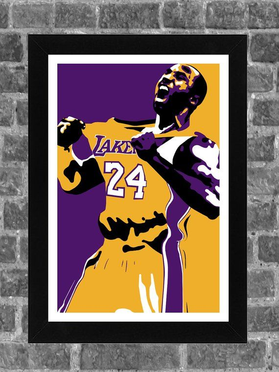 Los Angeles Lakers Kobe Bryant Portrait Sports Print Art