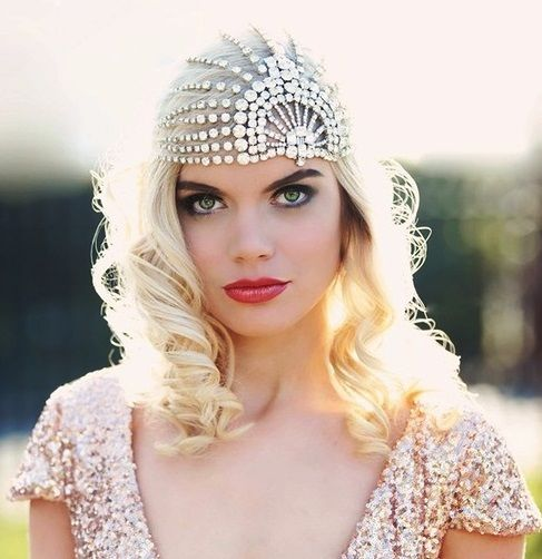 Bride's long down curls hair ideas  Toni Kami Wedding Hairstyles ♥ ❷ 20's Gatsby veil cap