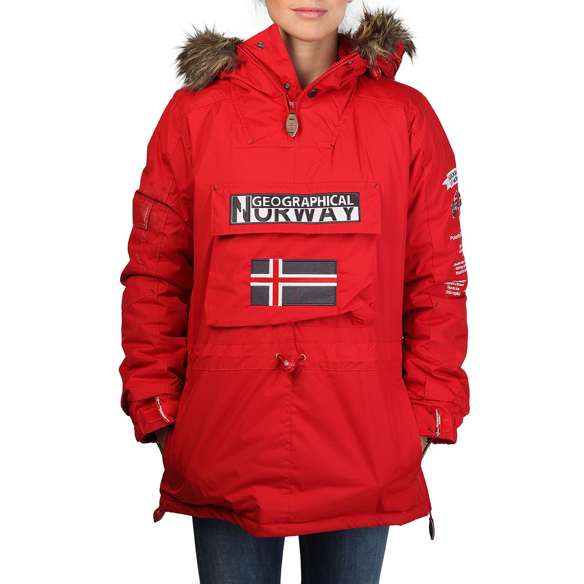 48b88e46a3f30 Geographical Norway - Building woman red Cosas Para Comprar