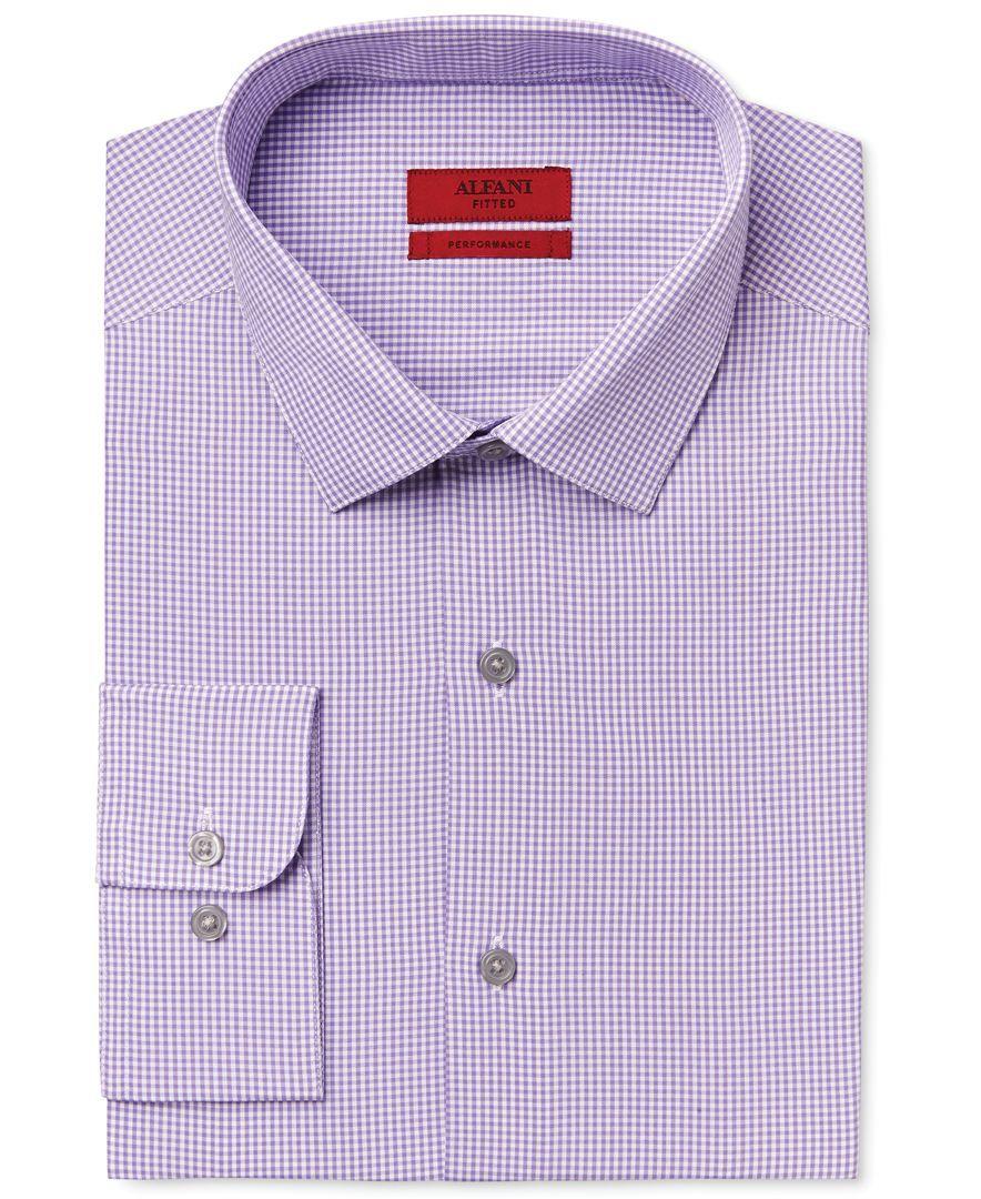Alfani Red Fitted Mens Performance Purple Mini Gingham Dress Shirt