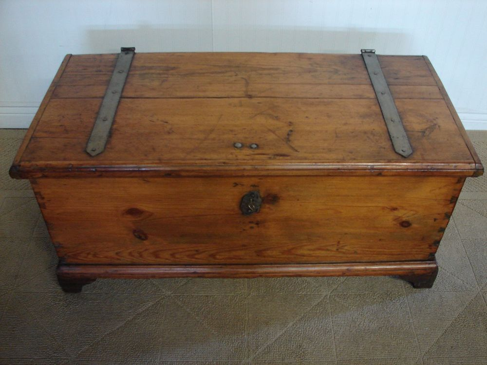 Antique Vintage Cedar Chest Storage Trunk Iron Strap Hinges Storage Trunk Iron Straps Strap Hinges