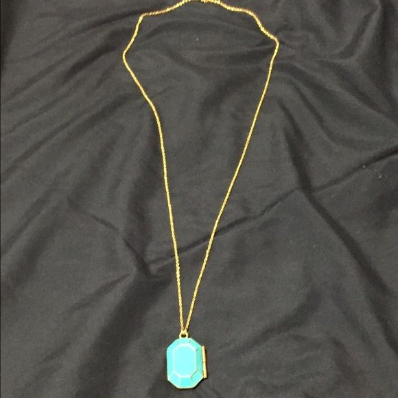 "EUC Kate Spade Turquoise Blue ""Jewelbar"" Locket This Kate Spade locket is in EUC! Length: 31"" chain and 1 3/4"" pendant drop. Cute accessory for any outfit! Locket has a magnetic clasp and small space inside. kate spade Jewelry Necklaces"