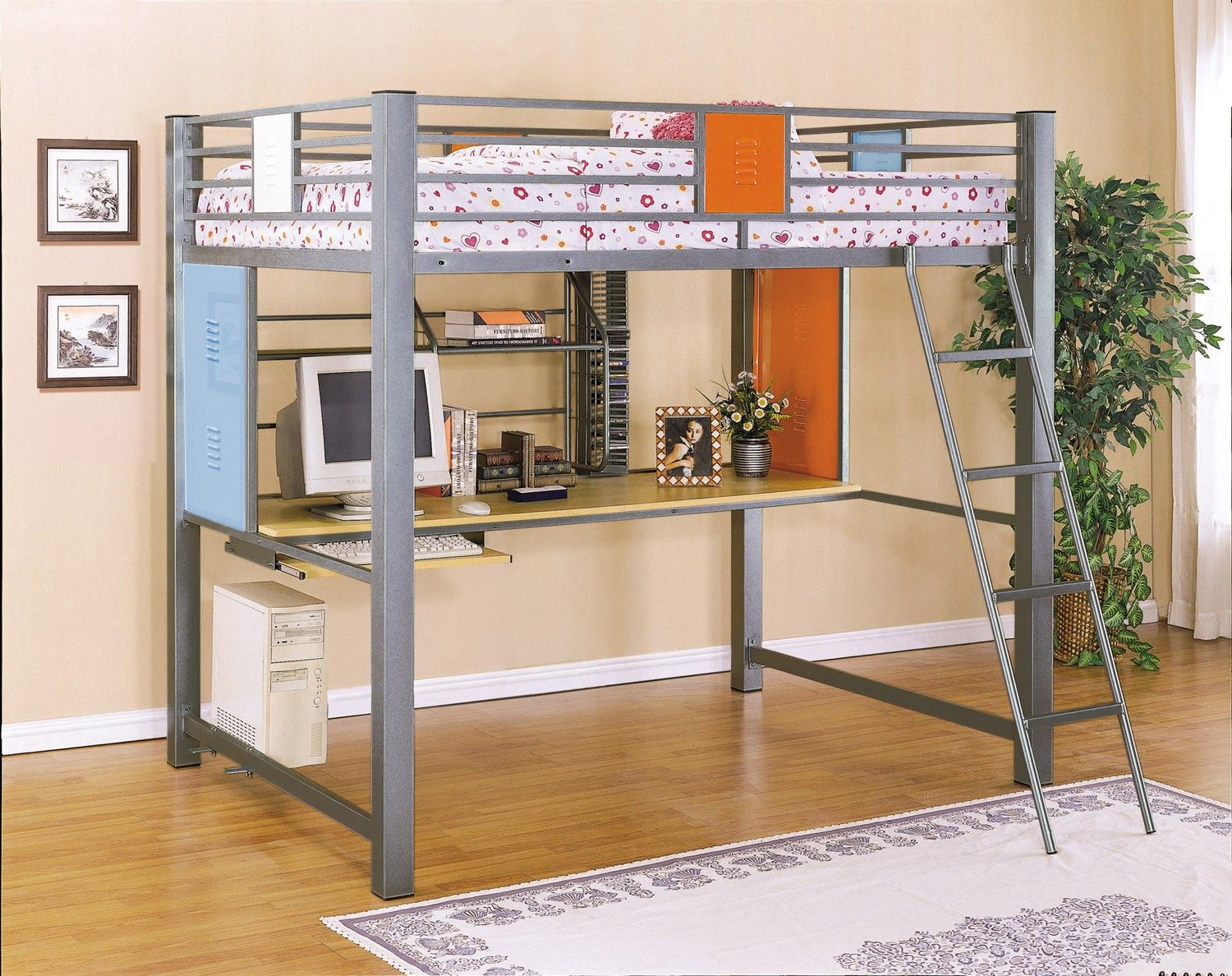 Best Donco Twin Over Full 3 Metal Bunk Bed In Silver In 2020 640 x 480