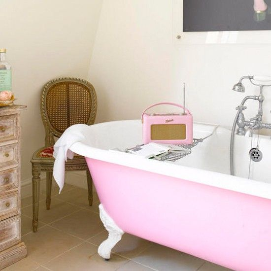 Rosa Bad Wohnideen Badezimmer Living Ideas Bathroom freestanding - badezimmer vintage