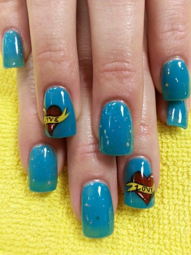 Acrylic nails with hand painted Ed Hardy inspired tattoo art by ...