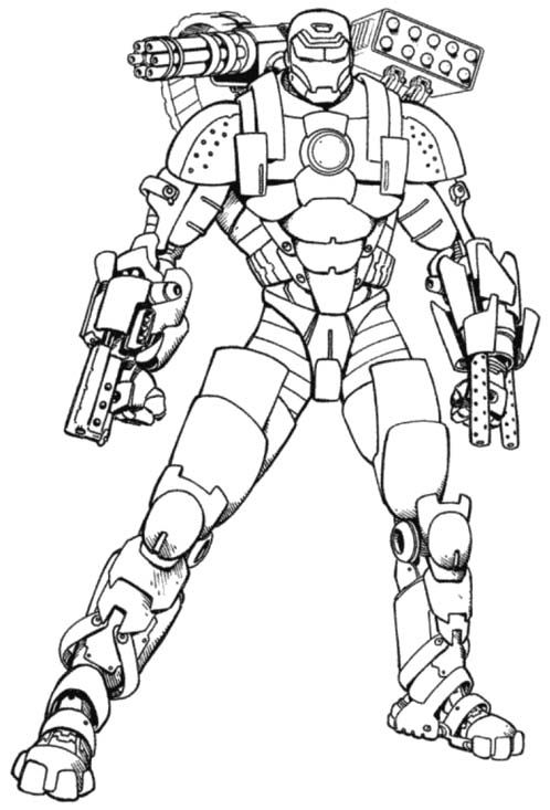 Iron Man With A Full Weapons Coloring Pages heroes n villain