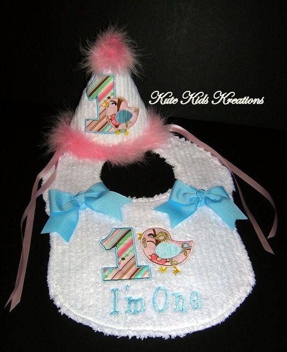 FIRST BIRTHDAY Hat And Bib Set Bird Applique By Kutekidskreations 3900