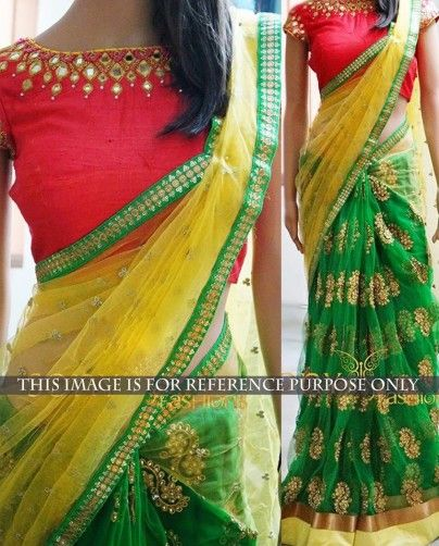 ceafc25e926cc0 Yellow and green net traditional style sari 2. Highlighted with mirror and  zari thread work motifs and border all over 3. Comes with a red raw silk  semi ...