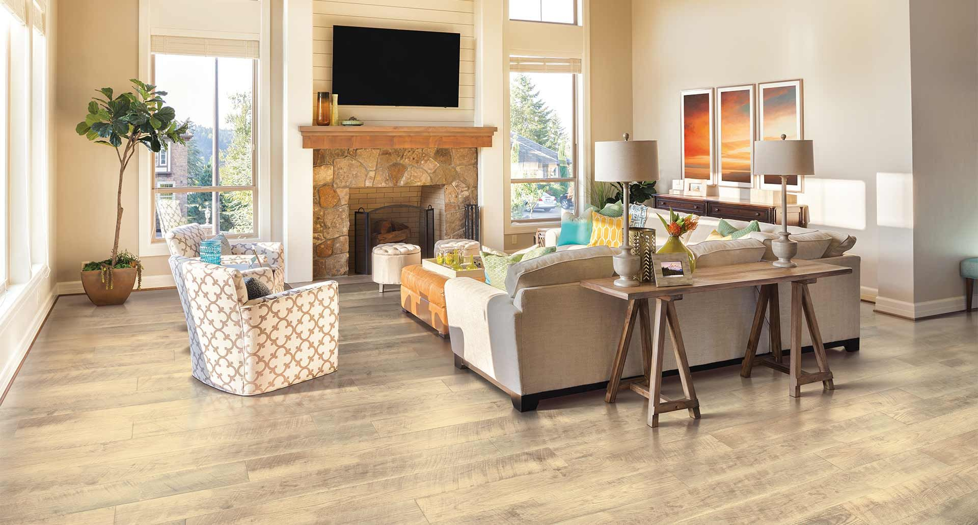 Southport Oak Natural Laminate Floor Beige Wood Finish 10mm 1 Strip Plank Flooring Easy To Install And Covered By Pergo S Lifetime Warranty