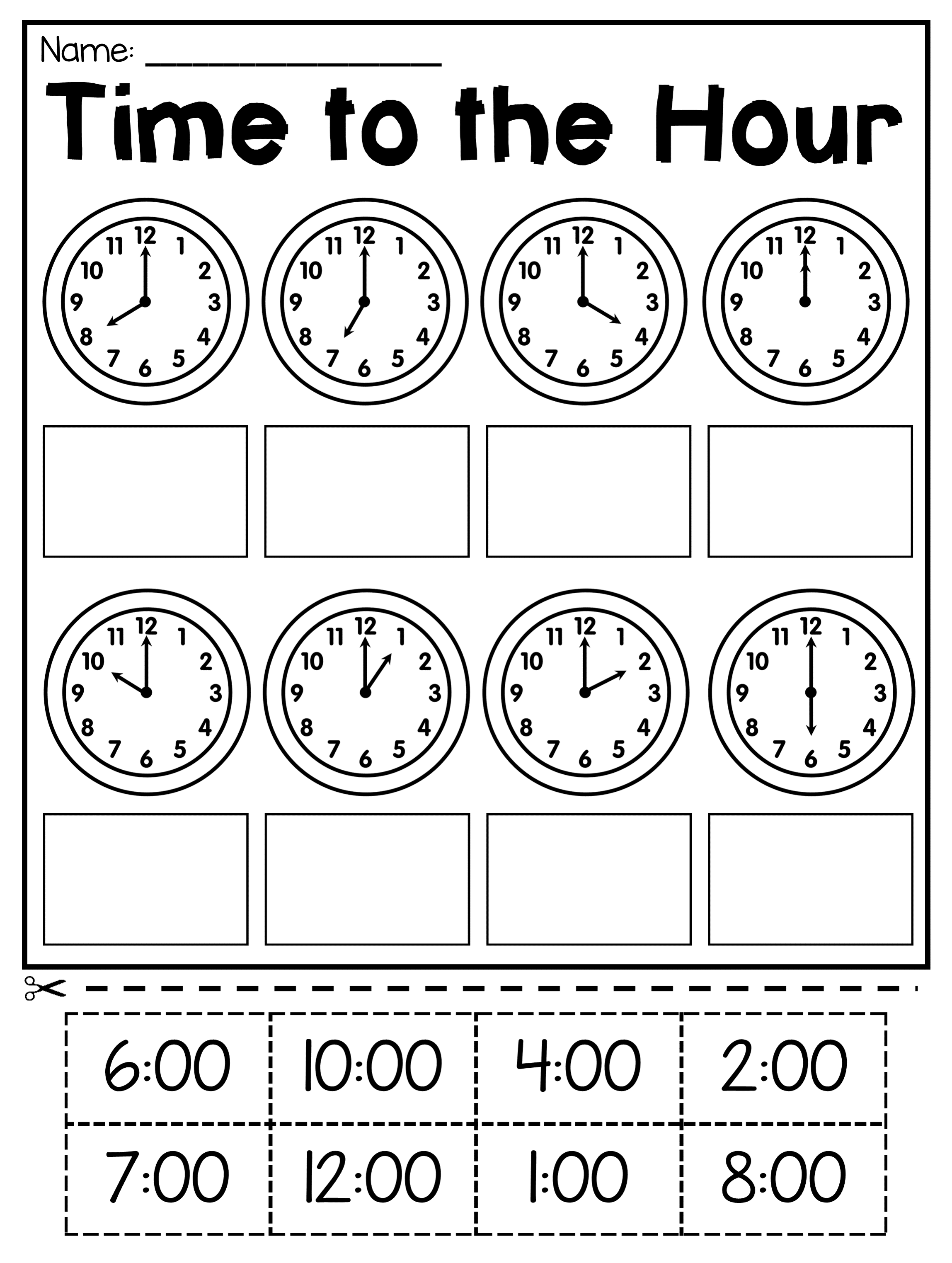 small resolution of First Grade Time Worksheets - Hour