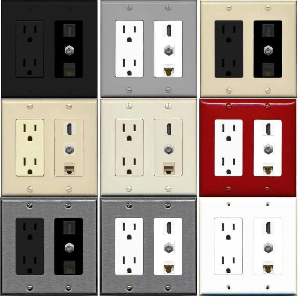 2 Gang Power Outlet 15a 125v 1 Hdmi 1 Coax Cable Tv Cat6 Coupler Wall Plate Plates On Wall Custom Wall Backyard Studio