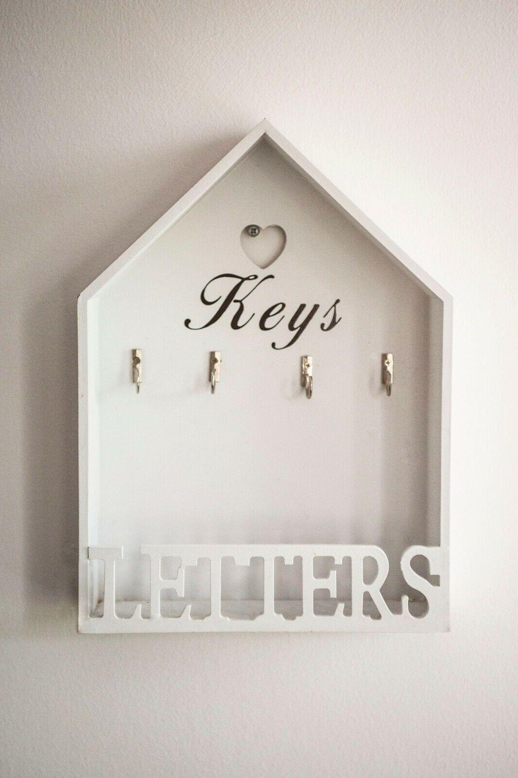 Vintage Shabby Letter Key Hooks Rack Storage Holder Chic Wall Mounted House