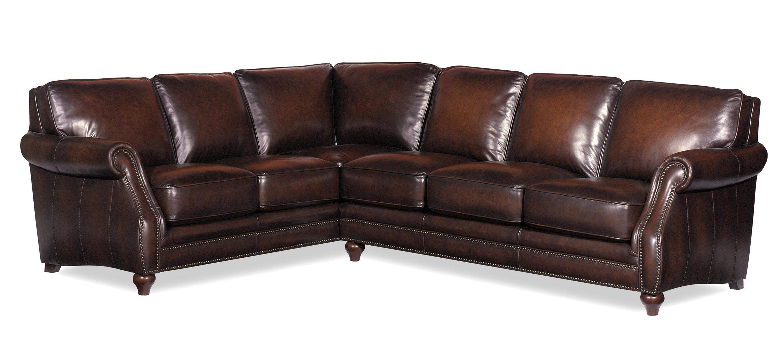 This Bernhardt full grain semi aniline leather sectional sofa is