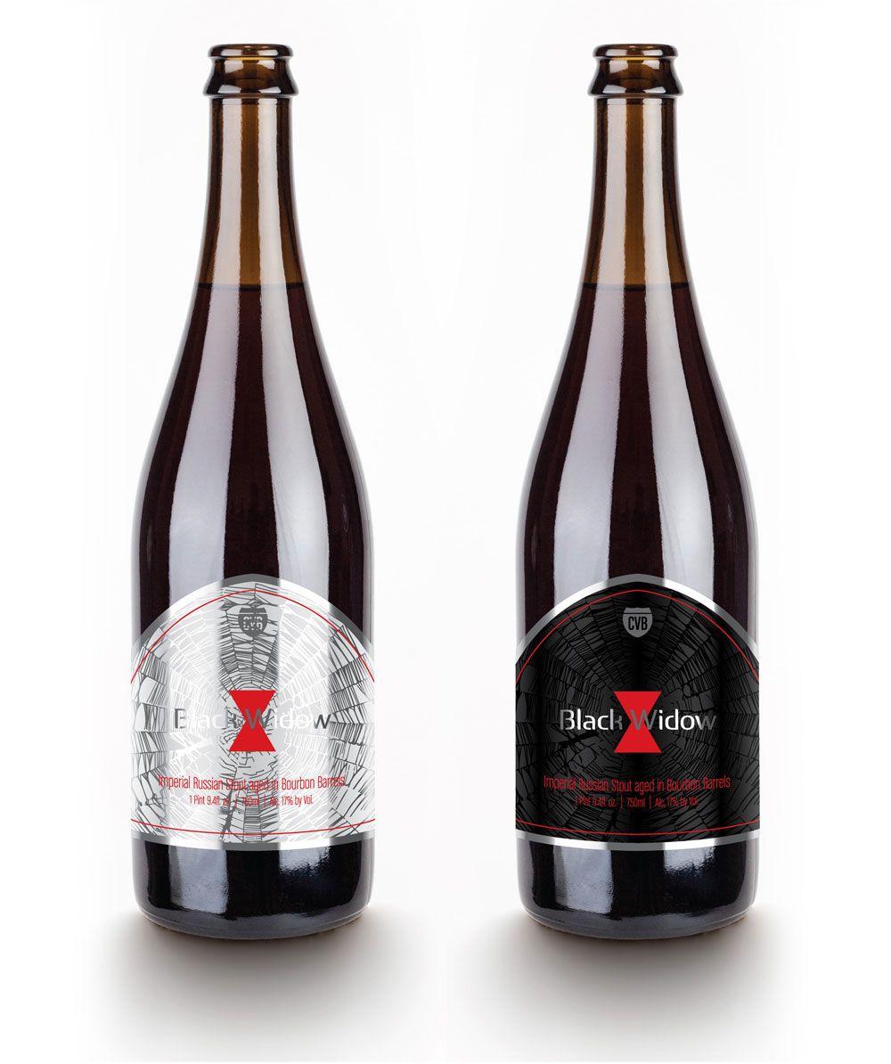 "Coachella Valley Brewing Co. ""Premium"" beer bottle label concept for Black Widow."