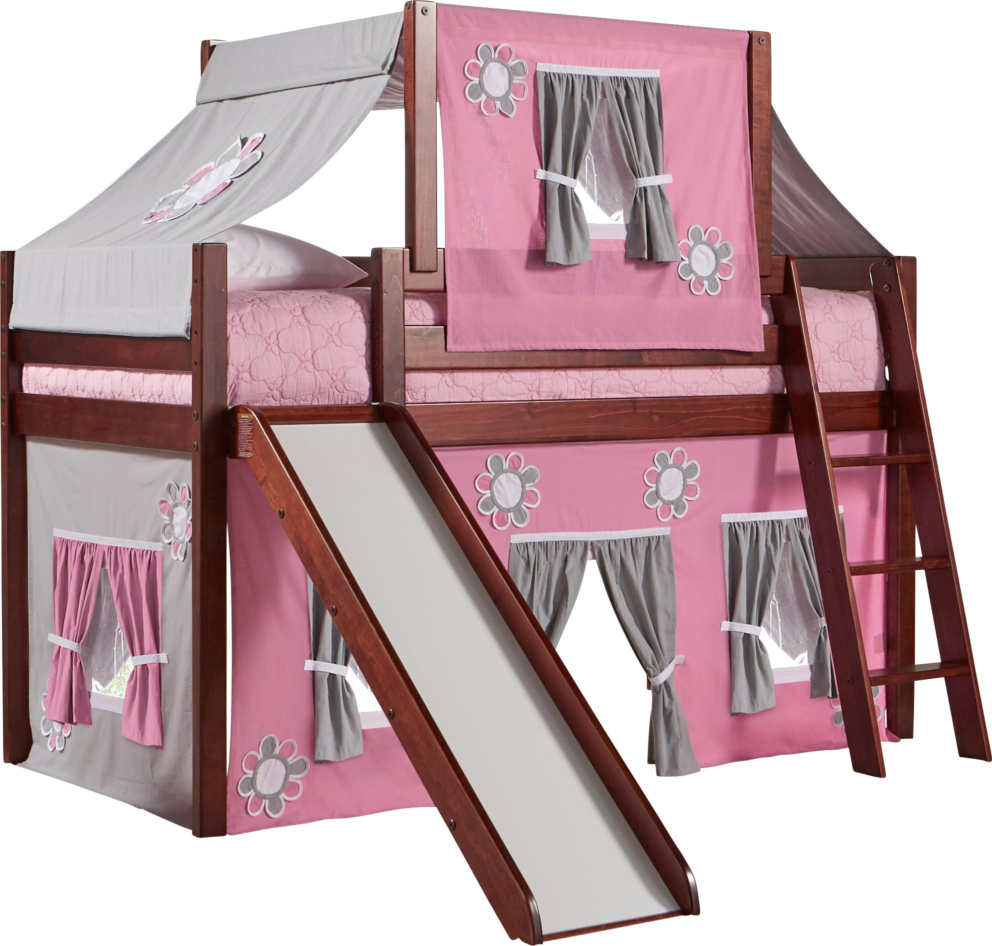 Pink Cottage Cherry Jr. Tent Loft Bed with Slide and Top