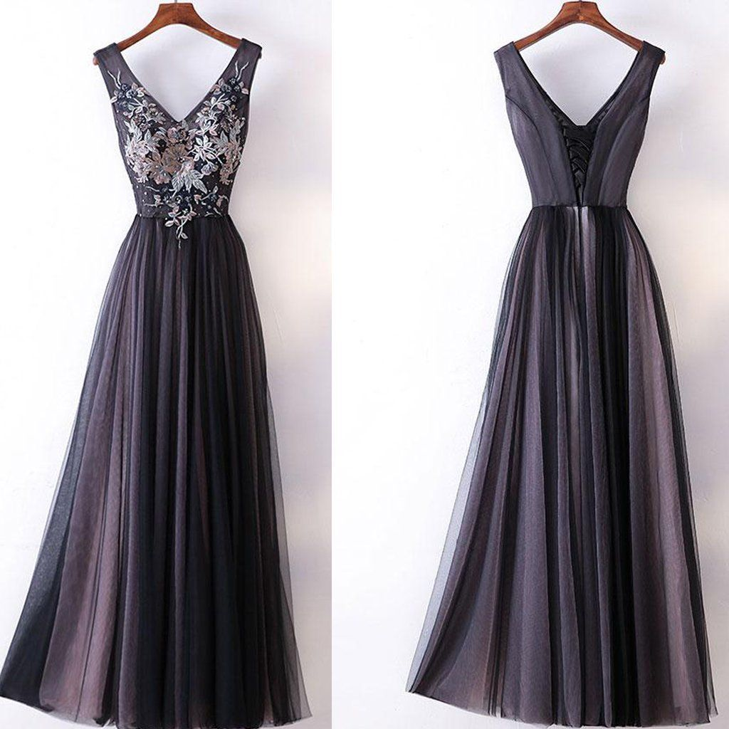 32870114eb8 Chic A-line V-neck Black Tulle Applique Modest Prom Dress Evening Dress  AM444