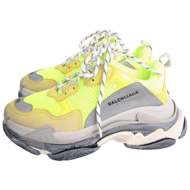 Balenciaga Tess Triple S Sneaker , fluorescent yellow/grey