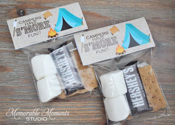 Instant Printable Bag Labels Camping Party Campers Have Smores Fun Fits 4 X6 Treat Bags Memorable Moments Studio