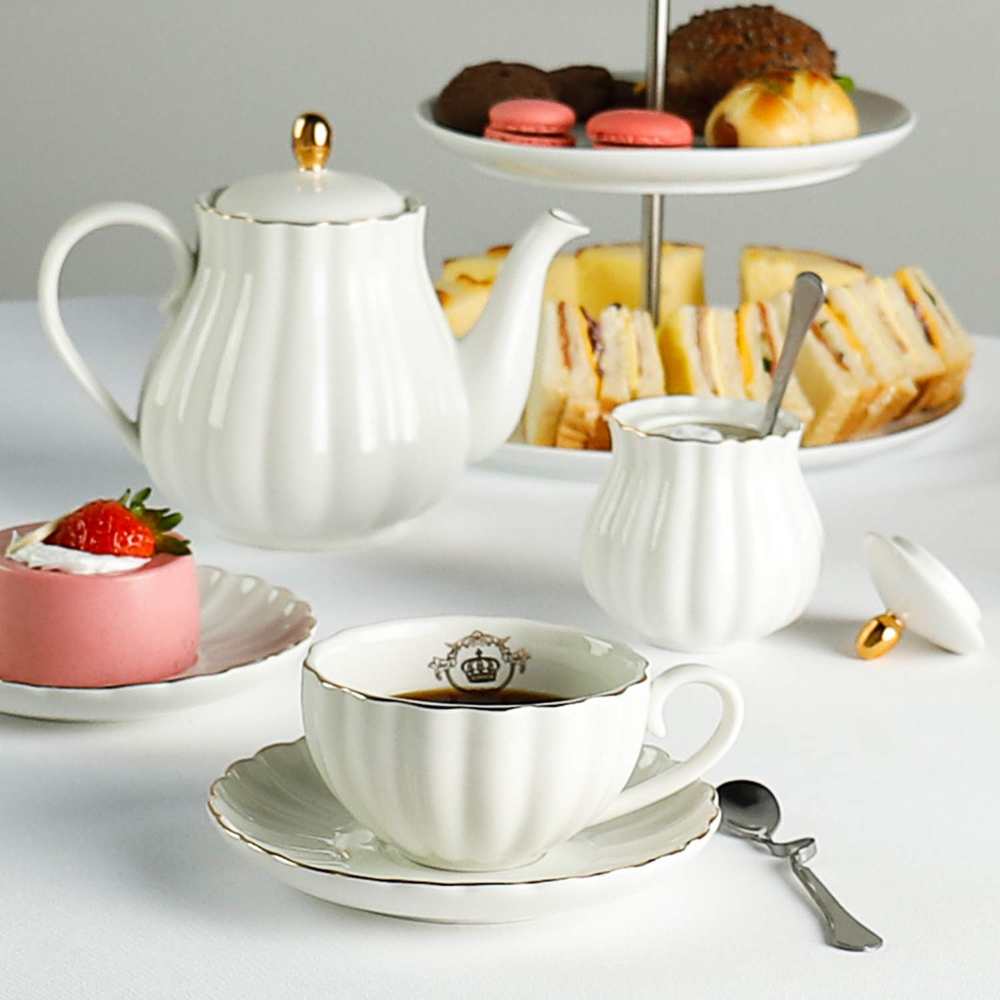 Royal Tea Cups and Saucers, with Gold Trim