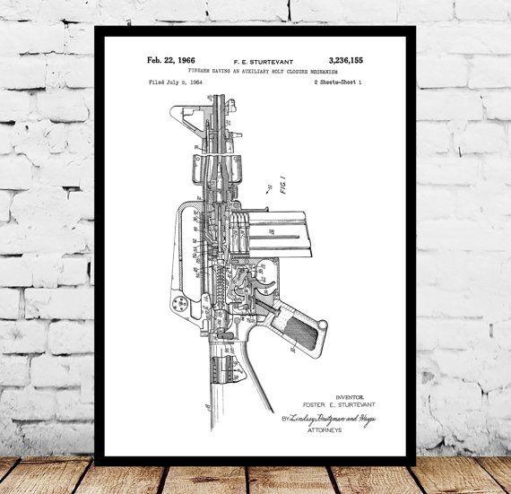 M-16 Rifle Print, M-16 Rifle Poster, M-16 Rifle Patent, M-16 Rifle - new blueprint gun art