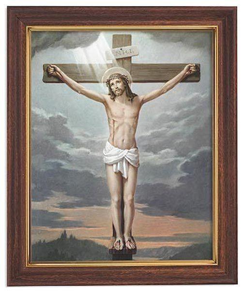 Jesus on cross crucifixion print in woodtone frame christian easter jesus on cross crucifixion print in woodtone frame christian easter gift negle Gallery