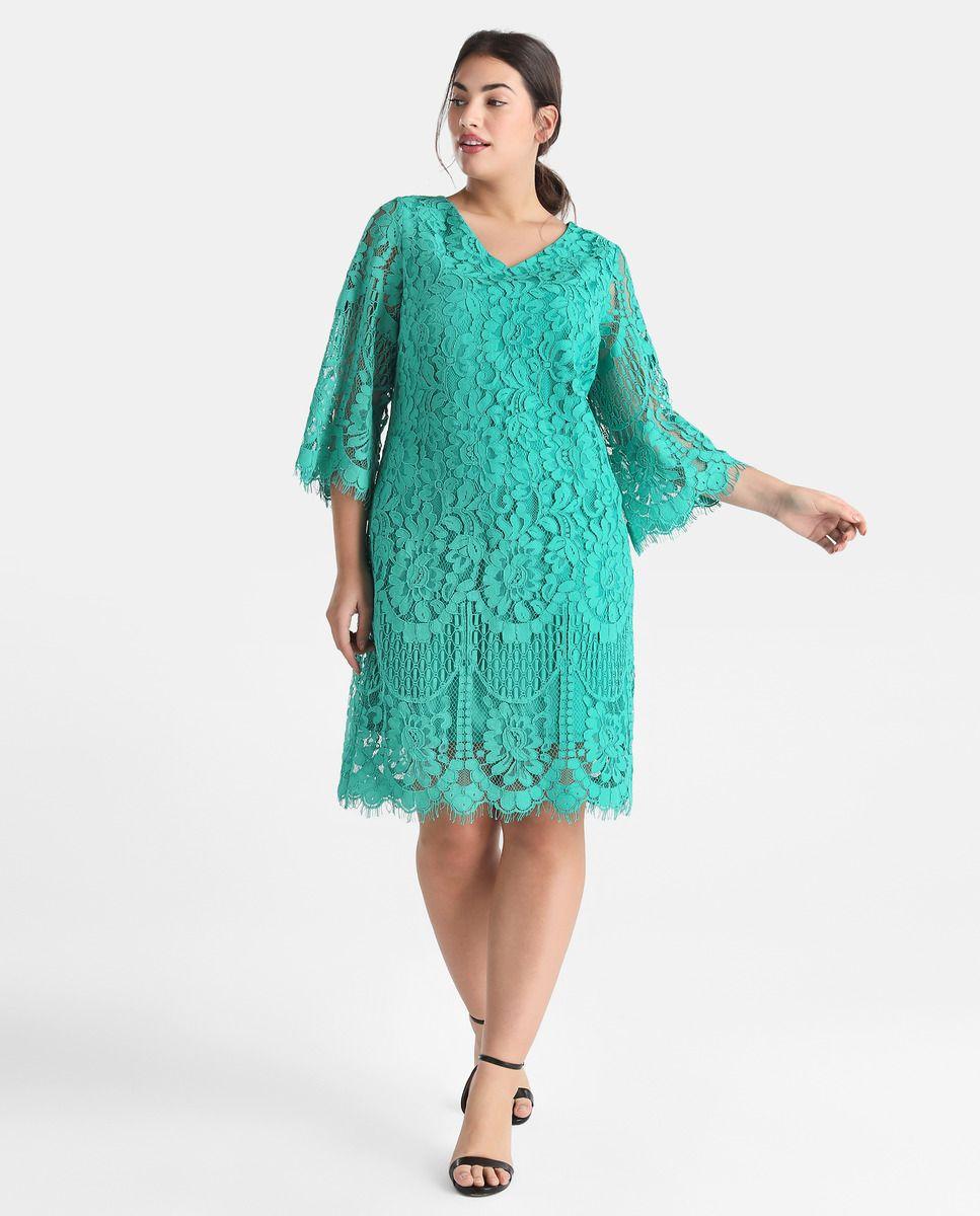 1cfc437900a Vestido de encaje de mujer talla grande Couchel en color verde · Couchel ·  Moda · El Corte Inglés