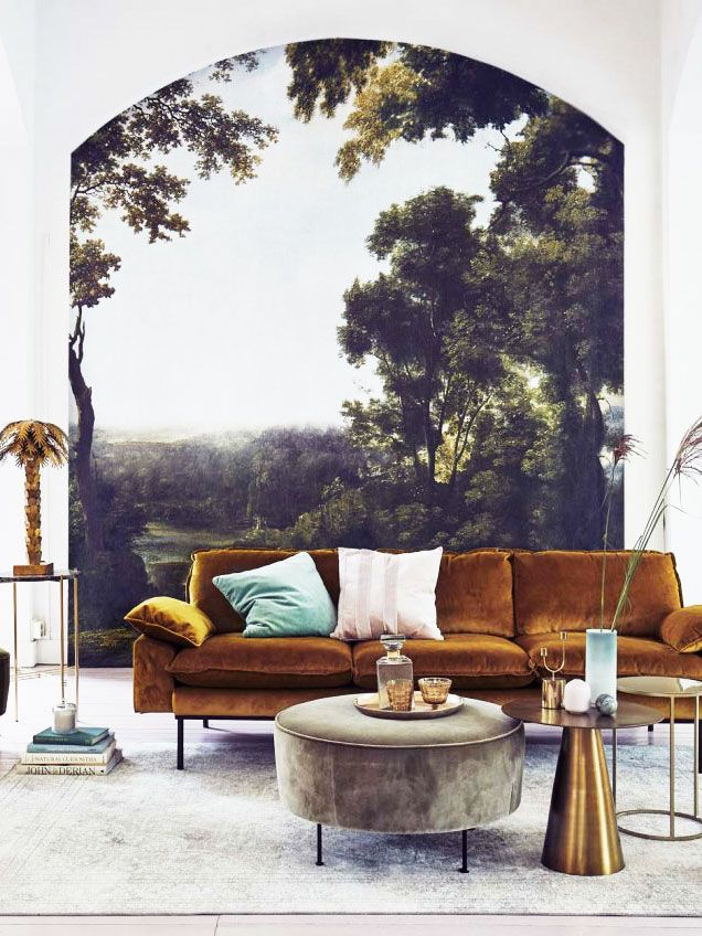 Scenic mural in a modern living room on Thou Swell @thouswellblog