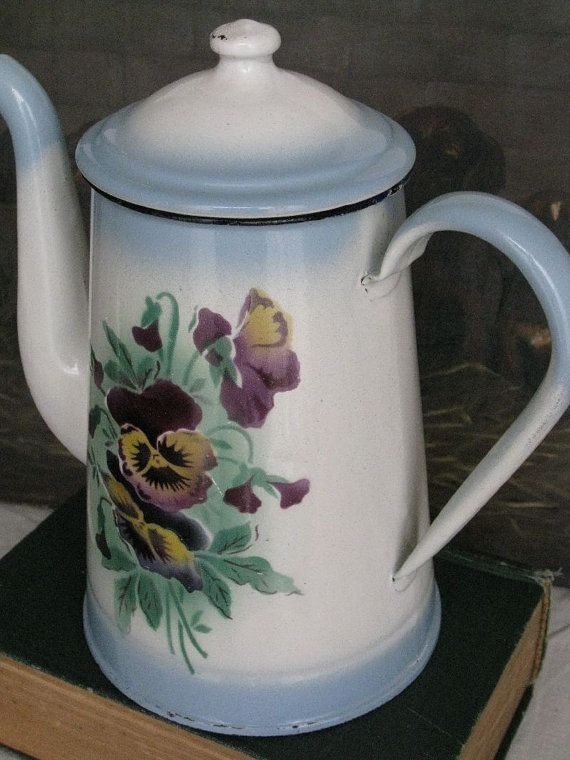 Reserved Sold White Blue Pansies French Enamelware Coffee Pot 1930s Vintage Vintage Coffee Pot Pansies Vintage Enamelware
