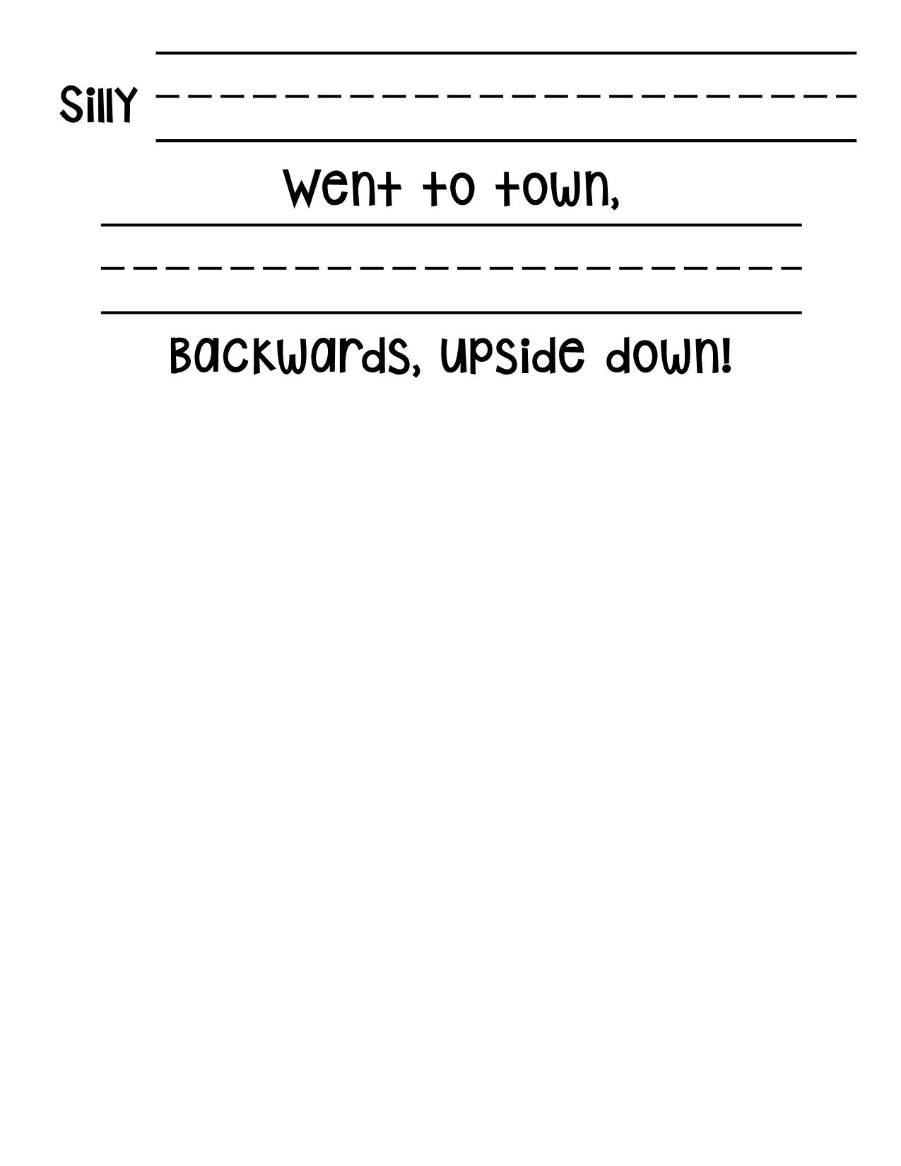 Writing worksheet that goes along with the book Silly Sally by ...