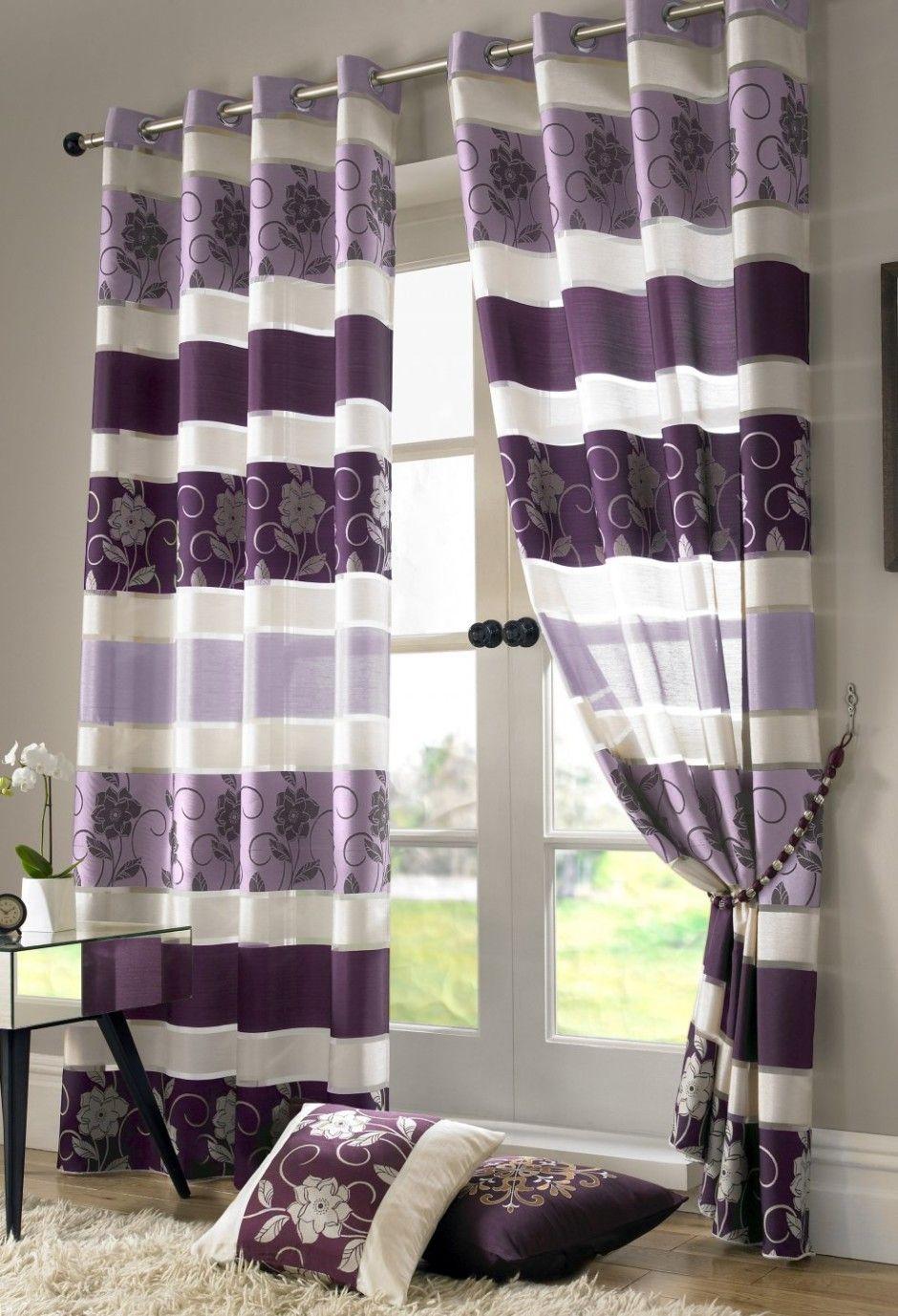 Bedroom Curtain Pretty White Purple Fl Theme