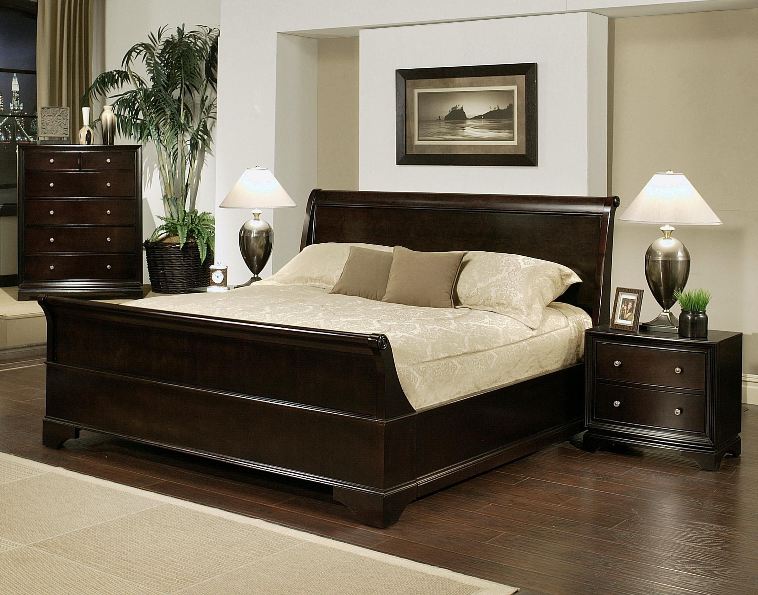 Abbyson Sleigh Cal King Bed Set With 4 Cushion And Nightstand Set ...