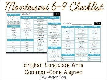 6 9 Montessori English Language Arts Checklist Language