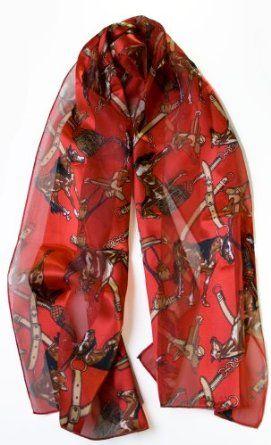 Lightweight Red Equestrian Print Vertical Striped Scarf Avalon Emporium. $13.95