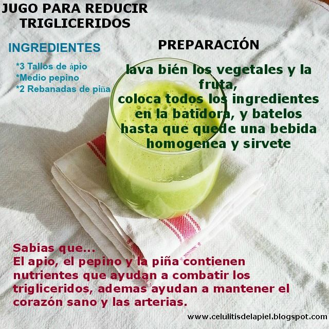 Jugo para reducir trigliceridos colesterol trigliceridos for Plantas para bajar de peso