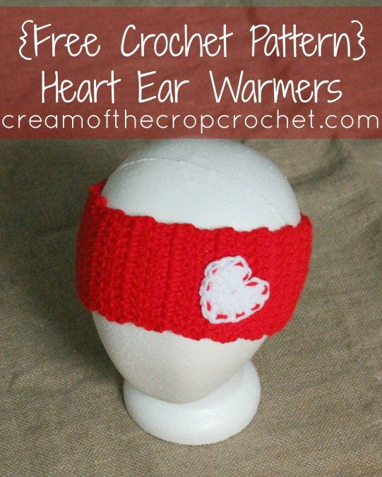 Cream Of The Crop Crochet ~ Heart Ear Warmers {Free Crochet Pattern ...