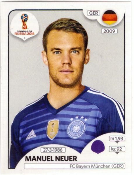 Manuel Neuer Germany Fifa World Cup Russia 2018 Panini World Cup Russia 2018 World Cup Fifa World Cup