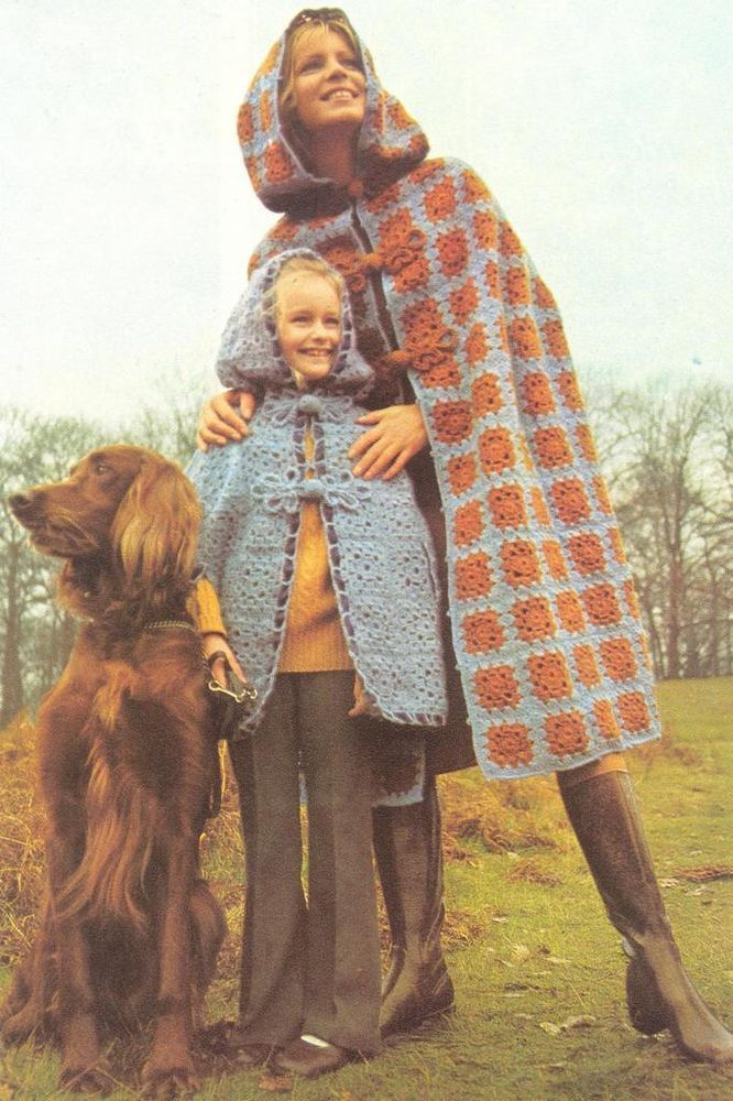 VINTAGE CROCHET MOTHER & DAUGHTER CAPE/ PONCHO WITH HOOD CROCHET ...