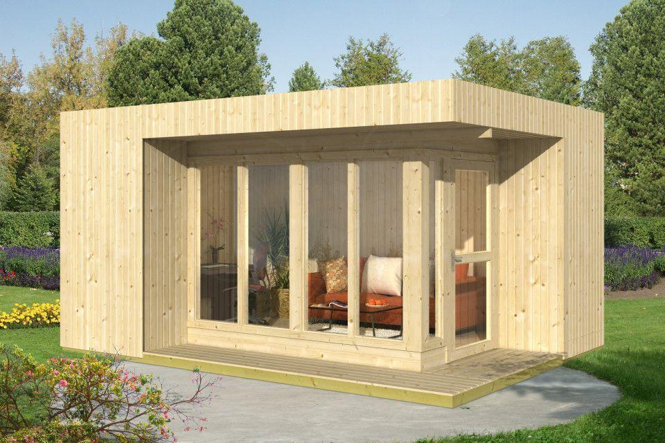 Modernes Exklusves Gartenhaus Aus Holz Mit Flachdach 477x351cm