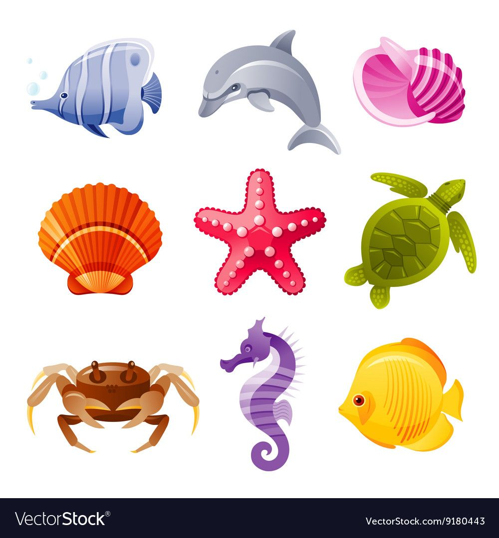 Colorful Cartoon Icon Set Of Sea Animals Vector Image Cartoon Sea Animals Sea Creatures Drawing Ocean Creatures Art