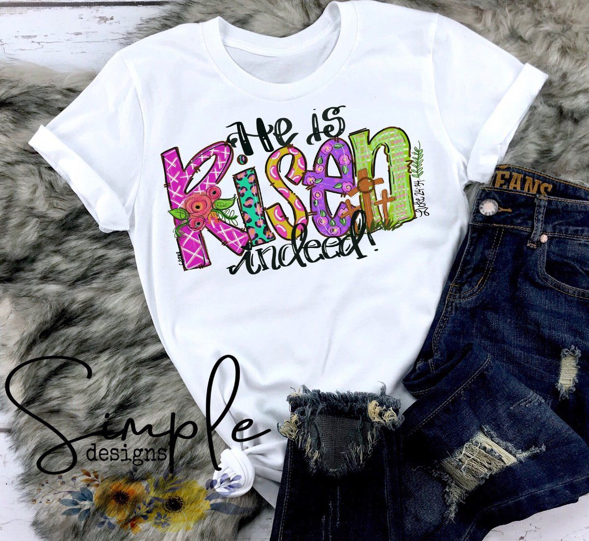 Personalized He is Risen Pants for Children Black