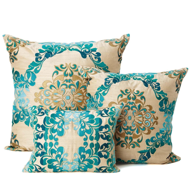 Brocade Home Decor Decoration kim seybert brocade teal/ gold pillows | for the home | pinterest