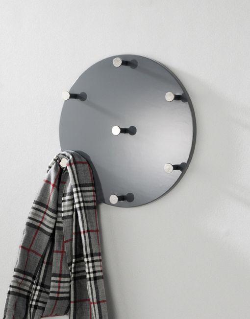 Wandgarderobe Grau Chrom Nickel Stahl Mdf 0x5x0cm