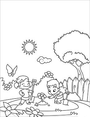 Malbild Fruhling Kinder Spielen Im Garten Ausmalbilder Fruhling Spiele Fur Kinder Ausmalbild