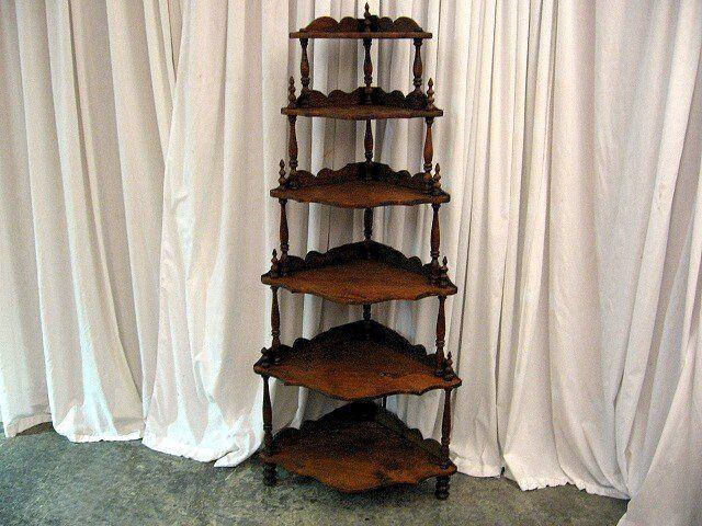Vintage Conor Shevels Nice Mahogany Antique 6 Shelf Corner