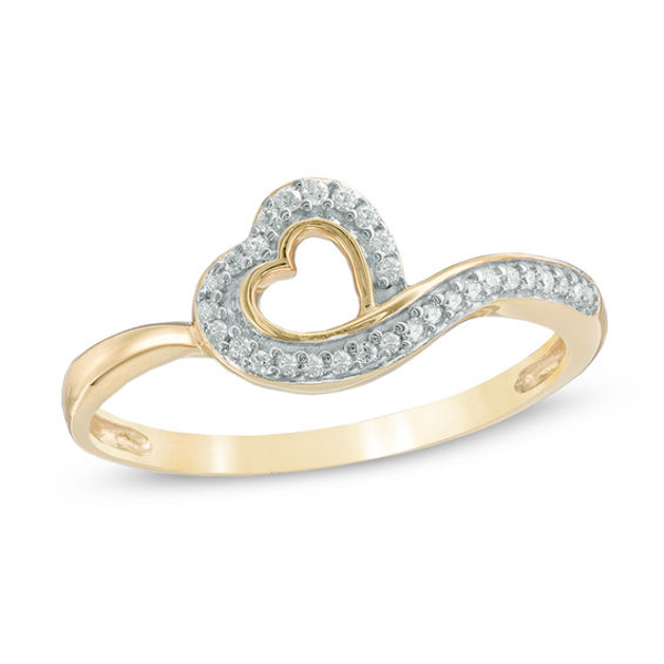 1 10 Ct T W Diamond Tilted Heart Ring In 10k Gold Heart Ring Diamond Heart Ring Fashion Rings
