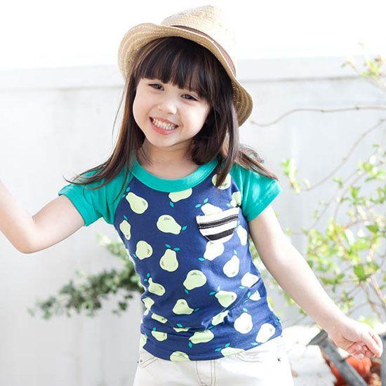 a2c8c0197c73f Green Tomato ペアーTシャツ(ネイビー) - 韓国子供服 通販 リズハピネス  キッズ服 ベビー服 男の子 女の子   こども服セレクトショップ
