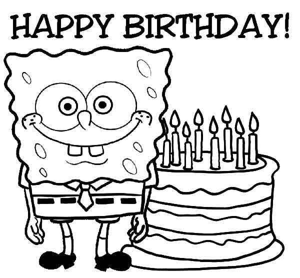 Happy Birthday Spongebob Coloring Pages Best Place To Color Happy Birthday Coloring Pages Birthday Coloring Pages Happy Birthday Printable