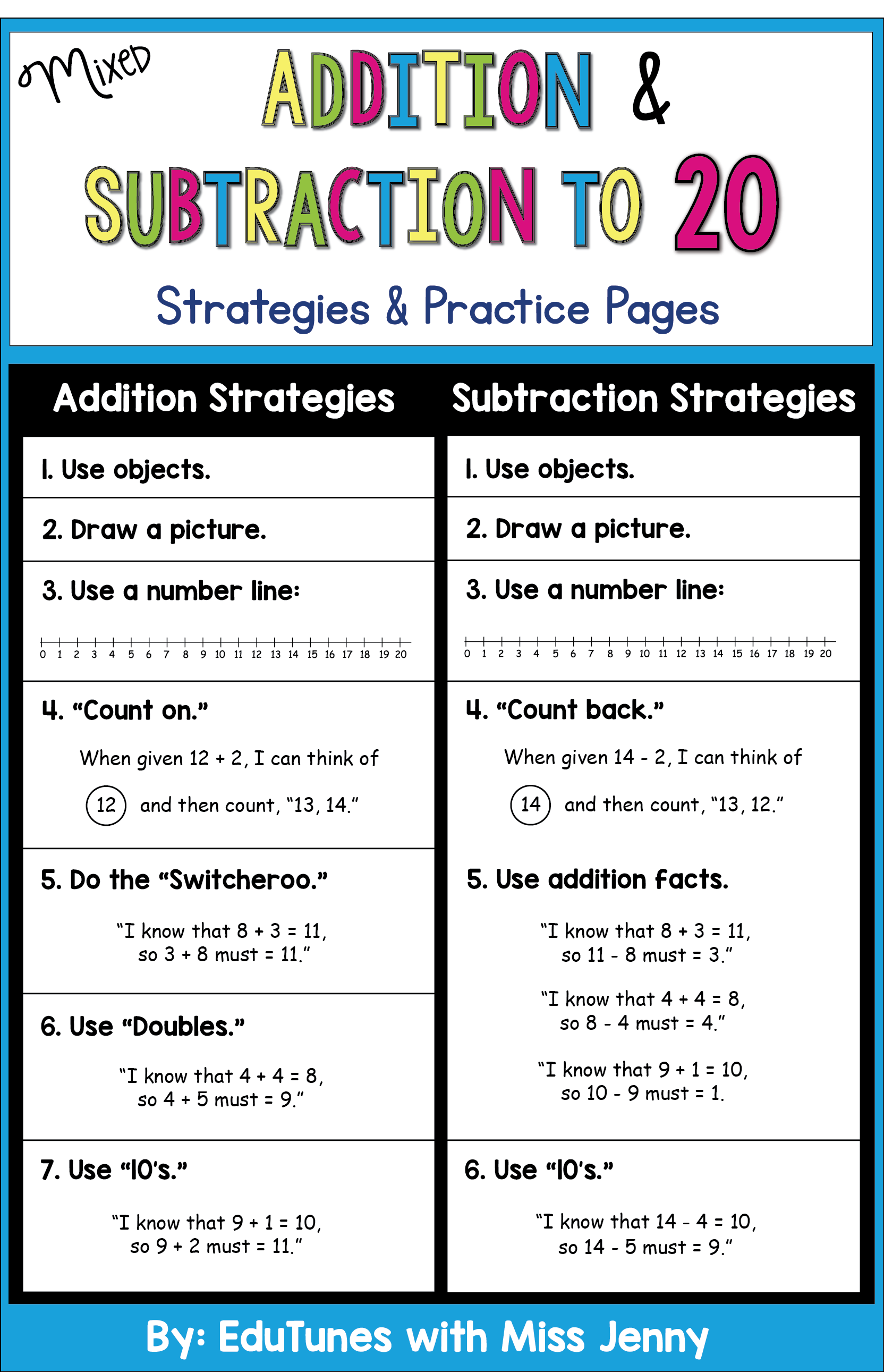 Addition And Subtraction Within 20 Strategies And Worksheets Addition And Subtraction Teaching Mathematics Math Activities Elementary [ 2582 x 1664 Pixel ]